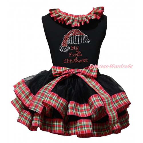 Christmas Black Pettitop Red Green Checked Lacing & Sparkle Rhinestone My First Christmas Print & Black Red Green Checked Trimmed Pettiskirt MG2712