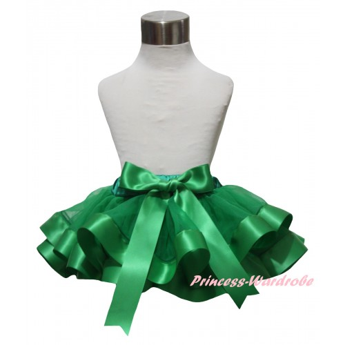 Kelly Green Trimmed Newborn Baby Pettiskirt & Bow N319