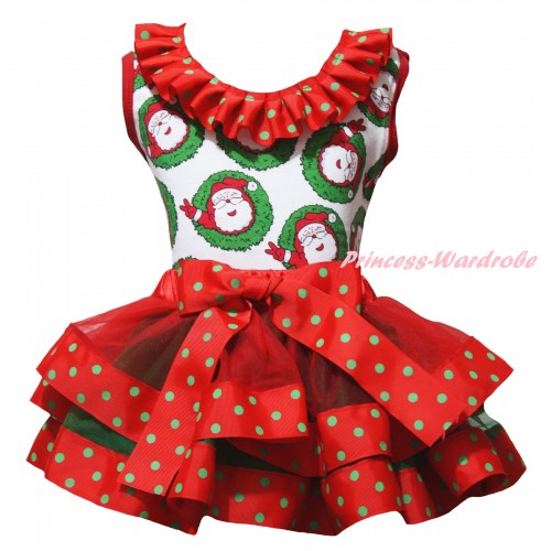 Christmas Santa Claus Baby Pettitop Red Green Dots Lacing & Red Green Dots Trimmed Newborn Pettiskirt NG2266