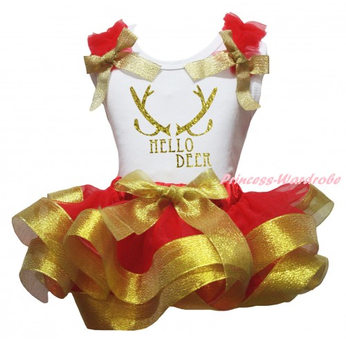 Christmas White Baby Pettitop Red Ruffles Gold Bow & Sparkle Gold Hello Deer Painting & Red Gold Trimmed Newborn Pettiskirt NG2271