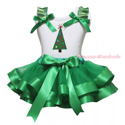Christmas White Baby Pettitop Kelly Green Ruffles Bow & Christmas Tree Print & Kelly Green Trimmed Newborn Pettiskirt NG2278