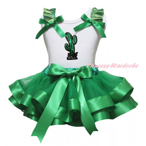 Cinco De Mayo White Baby Pettitop Kelly Green Ruffles Bow & Sparkle Sequins Cactus Print & Kelly Green Trimmed Newborn Pettiskirt NG2283