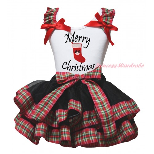 Christmas White Baby Pettitop Red Green Checked Ruffles Red Bow & Merry Christmas Painting & Christmas Stocking Print & Black Red Green Checked Trimmed Newborn Pettiskirt NG2287