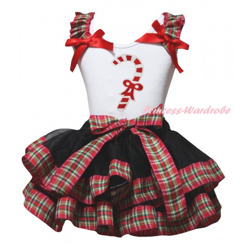 Christmas White Baby Pettitop Red Green Checked Ruffles Red Bow & Christmas Stick Print & Black Red Green Checked Trimmed Newborn Pettiskirt NG2291