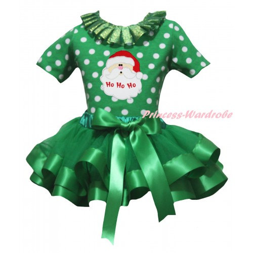 Christmas Kelly Green White Dots Baby Pettitop Kelly Green Lacing & Santa Claus Print & Kelly Green Trimmed Newborn Pettiskirt NG2293