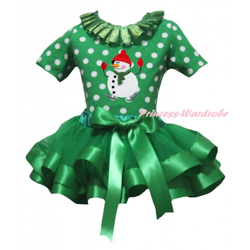 Christmas Kelly Green White Dots Baby Pettitop Kelly Green Lacing & Ice-Skating Snowman Print & Kelly Green Trimmed Newborn Pettiskirt NG2295