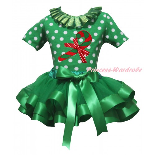 Christmas Kelly Green White Dots Baby Pettitop Kelly Green Lacing & Christmas Stick Print & Kelly Green Trimmed Newborn Pettiskirt NG2297