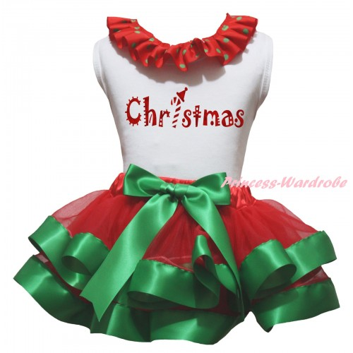 Christmas White Baby Pettitop Red Green Dots Lacing & Sparkle Christmas Painting & Red Kelly Green Trimmed Newborn Pettiskirt NG2304