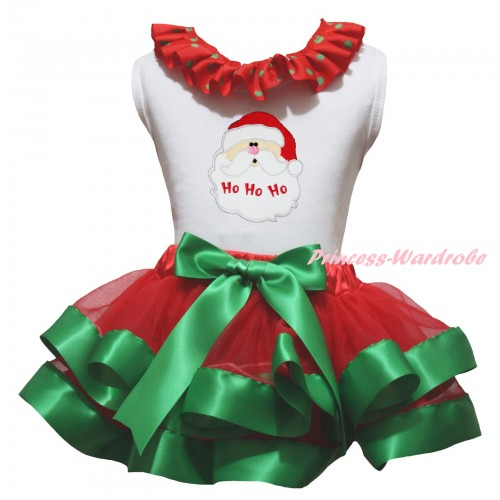 Christmas White Baby Pettitop Red Green Dots Lacing & Santa Claus Print & Red Kelly Green Trimmed Newborn Pettiskirt NG2309