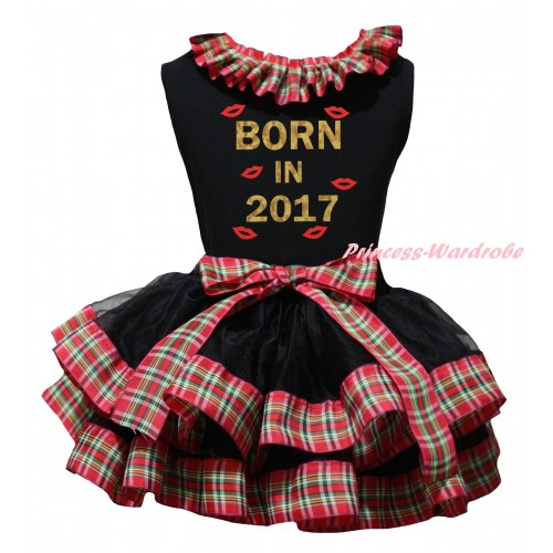 Black Baby Pettitop Red Green Checked Lacing & Sparkle Born In 2017 Painting & Black Red Green Checked Trimmed Newborn Pettiskirt NG2314