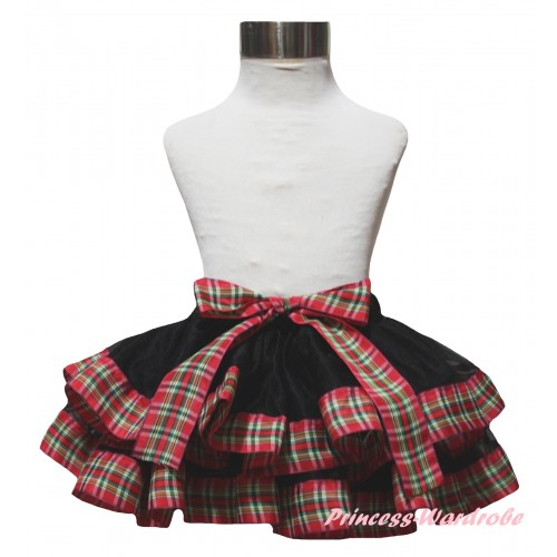 Black Red Green Checked Trimmed Full Pettiskirt & Bow P278