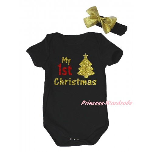 Christmas Black Baby Jumpsuit & Sparkle My 1st Christmas Tree Painting & Black Headband Gold Bow TH784