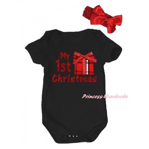 Christmas Black Baby Jumpsuit & Sparkle My 1st Christmas Painting & Gift Print & Red Headband Red Bow TH785