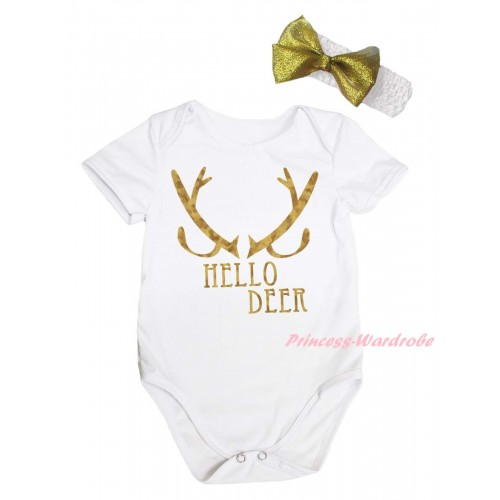 Christmas White Baby Jumpsuit & Sparkle Hello Deer Painting & White Headband Gold Bow TH792