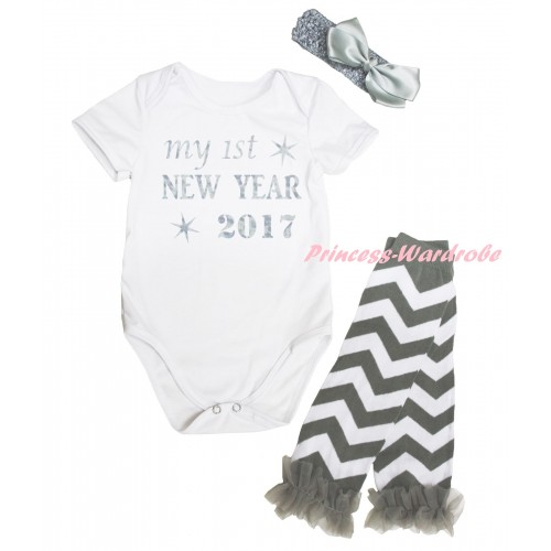 White Baby Jumpsuit & Sparkle My 1st New Year 2017 Painting & Headband & Warmer Set TH799