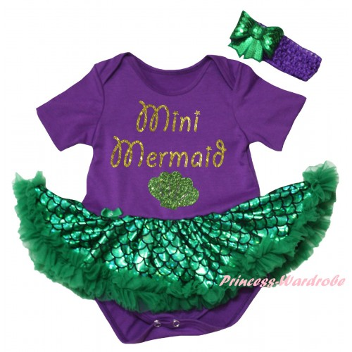 Dark Purple Baby Jumpsuit Green Scale Pettiskirt & Sparkle Gold Mini Mermaid Painting JS6198