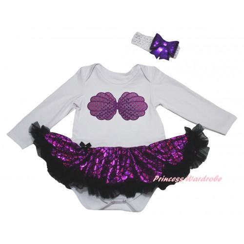 White Long Sleeve Baby Bodysuit Jumpsuit Black Dark Purple Scale Pettiskirt & Mermaid Sea Shell Bra Print & White Headband Dark Purple Bow JS6237