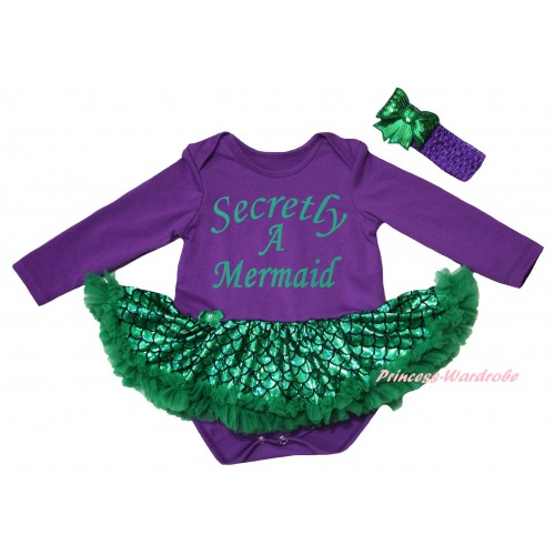 Dark Purple Long Sleeve Baby Bodysuit Jumpsuit Green Scale Pettiskirt & Secretly A Mermaid Painting & Dark Purple Headband Kelly Green Bow JS6241