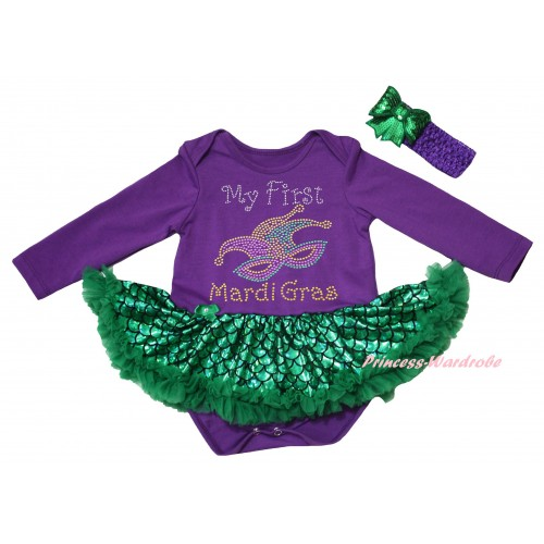 Mardi Gras Dark Purple Long Sleeve Baby Bodysuit Jumpsuit Green Scale Pettiskirt & Sparkle Rhinestone My First Mardi Gras Clown Mask Print & Dark Purple Headband Kelly Green Bow JS6245