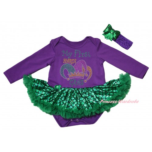 Mardi Gras Dark Purple Long Sleeve Baby Bodysuit Jumpsuit Green Scale Pettiskirt & Sparkle Rhinestone My First Mardi Gras Clown Hat Print & Dark Purple Headband Kelly Green Bow JS6246