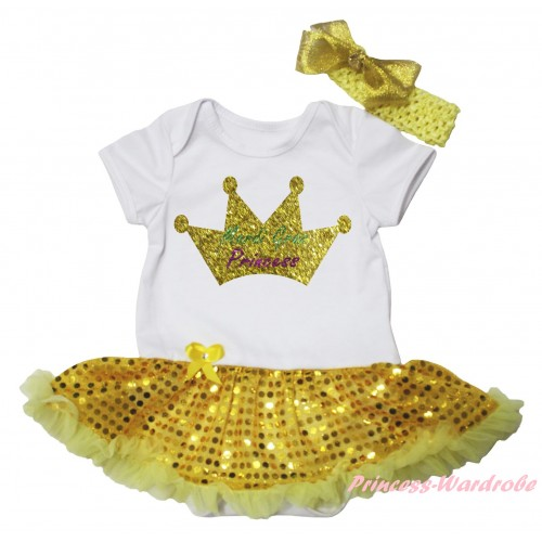 Mardi Gras White Baby Bodysuit Bling Yellow Sequins Pettiskirt & Sparkle Mardi Gras Princess Crown Painting JS6262