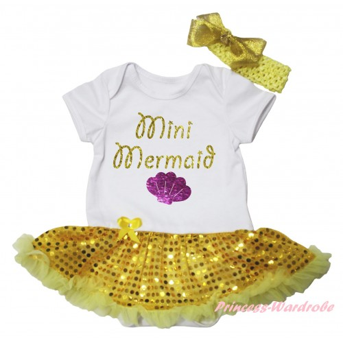 White Baby Bodysuit Bling Yellow Sequins Pettiskirt & Sparkle Gold Mini Mermaid Painting JS6264