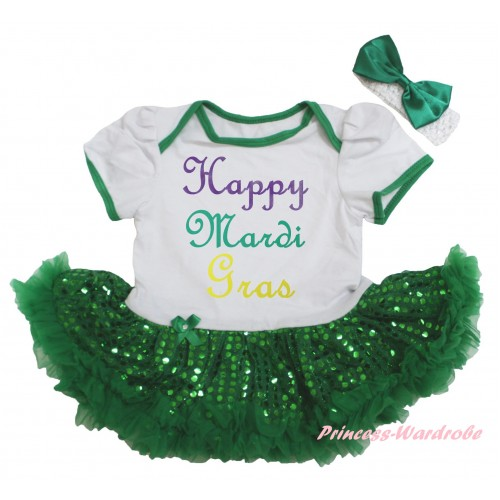 Mardi Gras White Baby Bodysuit Bling Kelly Green Sequins Pettiskirt & Happy Mardi Gras Painting JS6265