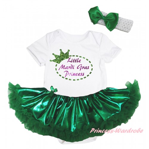 Mardi Gras White Baby Bodysuit Bling Kelly Green Pettiskirt & Sparkle Little Mardi Gras Princess Painting JS6267