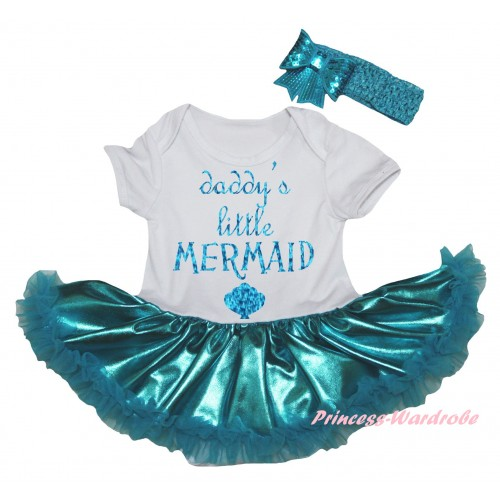 White Baby Bodysuit Bling Teal Green Pettiskirt & Sparkle Light Blue Daddy's Little Mermaid Painting JS6270