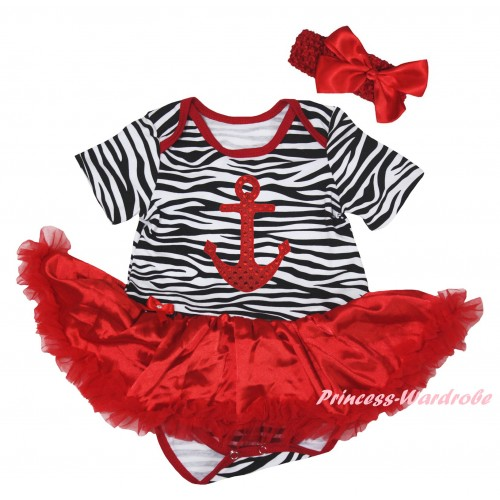 Red Zebra Baby Bodysuit Jumpsuit Red Pettiskirt & Red Anchor Print JS6288