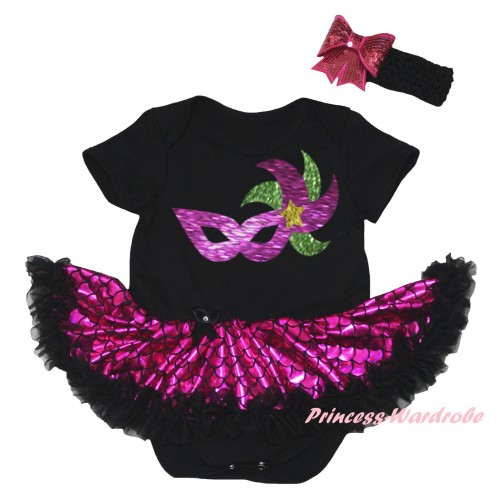 Mardi Gras Black Baby Jumpsuit Hot Pink Scale Pettiskirt & Sparkle Mardi Gras Clown Mask Painting JS6309