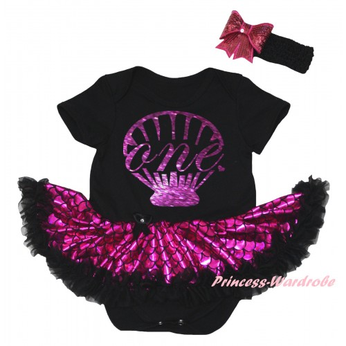 Black Baby Jumpsuit Hot Pink Scale Pettiskirt & Sparkle Dark Purple Mermaid Sea Shell Painting JS6311