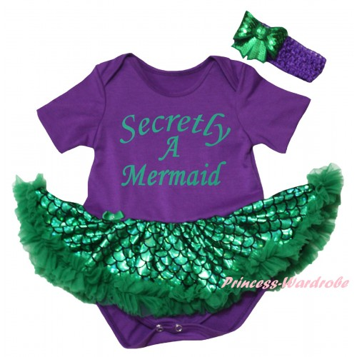 Dark Purple Baby Jumpsuit Green Scale Pettiskirt & Secretly A Mermaid Painting JS6318