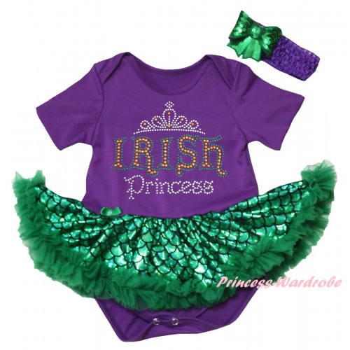 St Patrick's Day Dark Purple Baby Jumpsuit Green Scale Pettiskirt & Sparkle Rhinestone IRISH Princess Print JS6321
