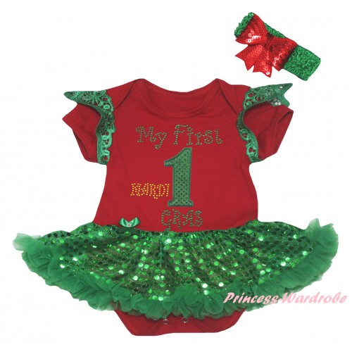 Mardi Gras Green Ruffles Red Baby Jumpsuit Bling Kelly Green Sequins Pettiskirt & Sparkle Rhinestone My First Mardi Gras 1st Number Print JS6331