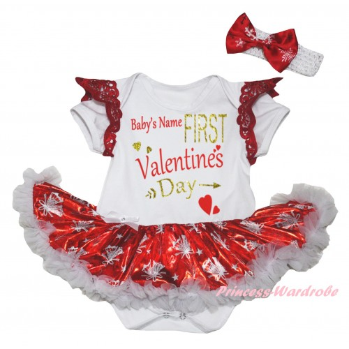 Valentine's Day Red Ruffles White Baby Jumpsuit Bling Red White Christmas Bell Pettiskirt & Sparkle Gold Red Baby's Name First Valentine's Day Painting JS6333