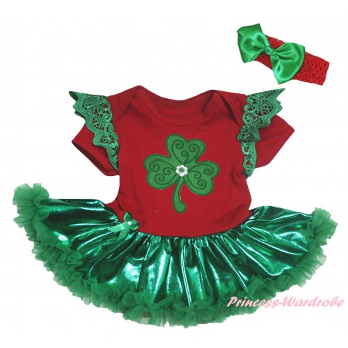 St Patrick's Day Green Ruffles Red Baby Jumpsuit Bling Kelly Green Pettiskirt & Clover Print JS6360