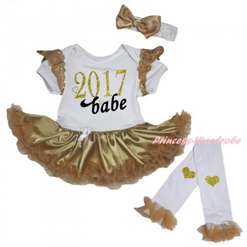 Goldenrod Ruffles White Baby Jumpsuit Goldenrod Pettiskirt & Sparkle Gold Black 2017 Babe Painting & Warmers Leggings JS6370