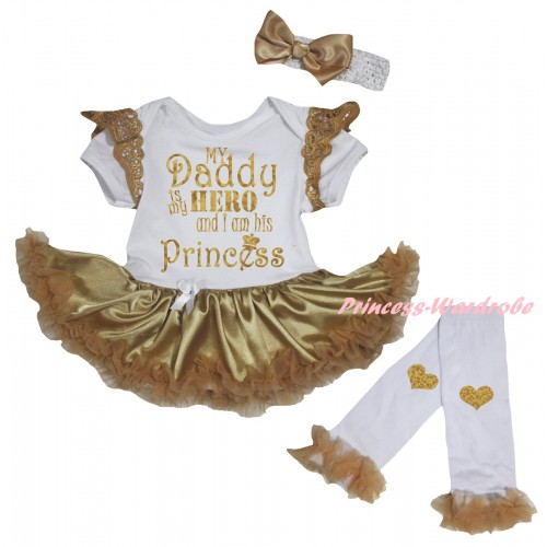 Goldenrod Ruffles White Baby Jumpsuit Goldenrod Pettiskirt & Sparkle Gold My Daddy Is My Hero And I Am His Princess Painting & Warmers Leggings JS6371