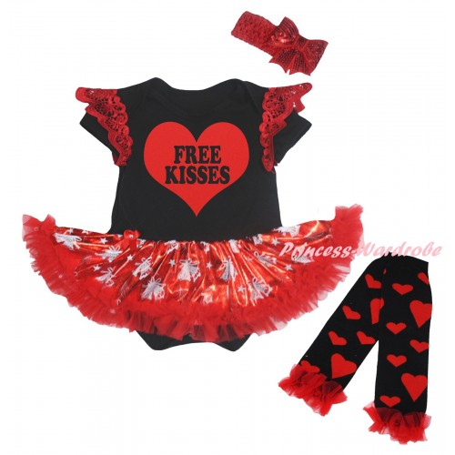 Valentine's Day Red Ruffles Black Baby Jumpsuit Bling Red White Christmas Bell Pettiskirt & Red Free Kisses Heart Painting & Warmers Leggings JS6372