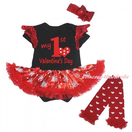 Valentine's Day Red Ruffles Black Baby Jumpsuit Bling Red White Christmas Bell Pettiskirt & Red My 1st Valentine's Day Painting & Warmers Leggings JS6373