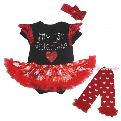 Valentine's Day Red Ruffles Black Baby Jumpsuit Bling Red White Christmas Bell Pettiskirt & Sparkle Rhinestone My 1st Valentine Red Heart Print & Warmers Leggings JS6374
