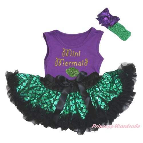Dark Purple Baby Pettitop & Sparkle Gold Mini Mermaid Painting & Black Green Scale Newborn Pettiskirt & Kelly Green Headband Dark Purple Bow NG2323