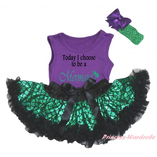 Dark Purple Baby Pettitop & Today I Choose To Be A Mermaid Painting & Black Green Scale Newborn Pettiskirt & Kelly Green Headband Dark Purple Bow NG2325