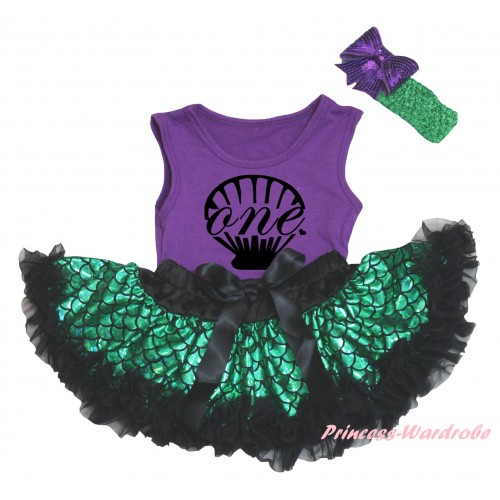 Dark Purple Baby Pettitop & Black Mermaid Sea Shell Painting & Black Green Scale Newborn Pettiskirt & Kelly Green Headband Dark Purple Bow NG2326