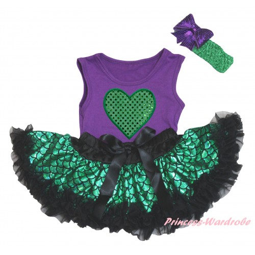 Dark Purple Baby Pettitop & Sparkle Kelly Green Heart Print & Black Green Scale Newborn Pettiskirt & Kelly Green Headband Dark Purple Bow NG2328