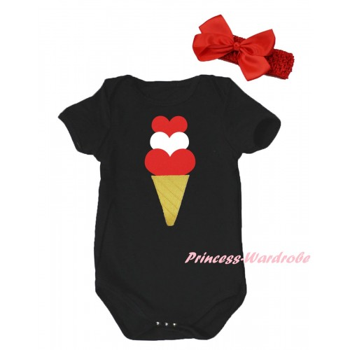 Black Baby Jumpsuit & Red White Heart Ice Cream Print & Red Headband Bow TH803