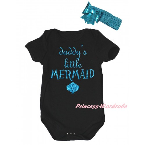 Black Baby Jumpsuit & Sparkle Light Blue Daddy's Little Mermaid Painting & Light Blue Headband Bow TH805