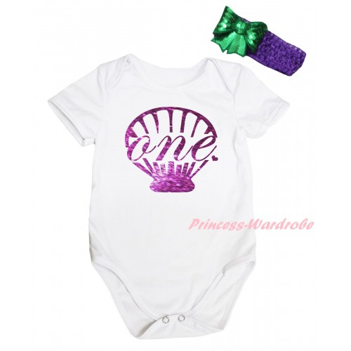 White Baby Jumpsuit & Dark Purple Mermaid Sea Shell Painting & Dark Purple Headband Kelly Green Bow TH812