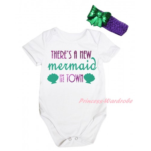 White Baby Jumpsuit & Sparkle There's A New Mermaid In Town Painting & Dark Purple Headband Kelly Green Bow TH813